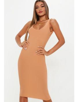 Camel Scoop Back Midi Dress by Missguided