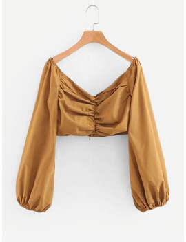 Solid Ruched Detail Crop Blouse by Sheinside