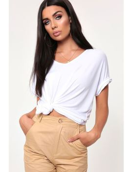 White Basic V Neck Oversized Tee by I Saw It First