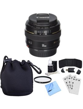 Canon Ef 50mm F/1.4 Usm Telephoto Lens W/ Accessory Bundle Includes Lens, Lens Pouch, 58mm Uv Filter, Memory Card Wallet, Card Reader, Screen Protectors Cleaning Kit And Beach Camera Microfiber Cloth by Canon