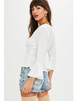 White Crepe Button Peplum Blouse by Missguided