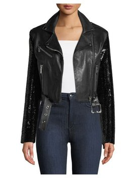 Let's Dance Cropped Leather Jacket W/ Sequin Sleeves by Nour Hammour