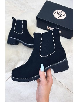 Lizzie Black Suede Studded Ankle Boot by Misspap