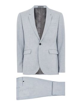 Light Blue Textured Skinny Fit Suit by Topman
