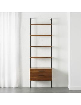 "Helix 96"" Acacia Shelf With 2 Drawers by Crate&Barrel"