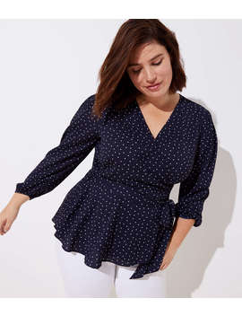 Loft Plus Dotted Wrap Peplum Blouse by Loft