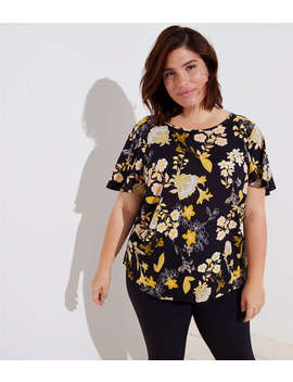 Loft Plus Golden Floral Covered Button Sleeve Top by Loft