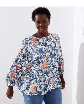 Loft Plus Floral Cutout Peplum Blouse by Loft