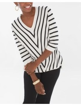 Striped V Neck Pullover by Chico's