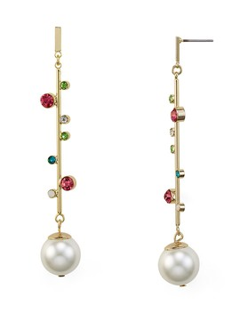 Linear Simulated Pearl Drop Earrings by Rj Graziano
