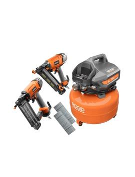 6 Gal. Electric Pancake Air Compressor With 18 Gauge 2 1/8 In. Brad Nailer And 15 Gauge 2 1/2 In. Angled Finish Nailer by Ridgid