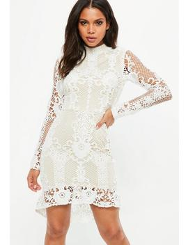 Nude Lace Flippy Hem Flare Sleeve Bodycon Dress by Missguided