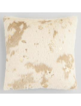 Gold Splatter Print Faux Cowhide Throw Pillow by World Market