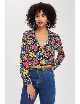 Floral Print Pyjama Style Shirt by Topshop