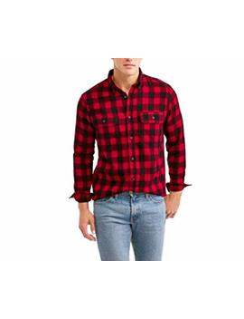 Faded Glory Mens Long Sleeve Red & Black Flannel Shirt by Faded Glory