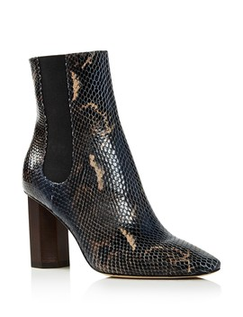 Women's Laila Round Toe Snake Embossed Leather Booties by Donald Pliner