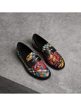 Graffiti Vintage Check Cotton Penny Loafers by Burberry