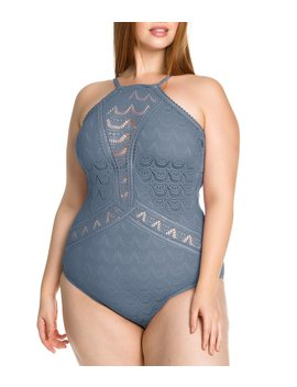 Plus Size Colorplay Crochet High Neck One Piece Swimsuit by Generic