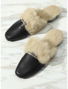 Faux Fur Slip On Mules by Sheinside