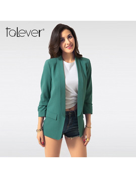 Spring Women Blazer Jacket Fashion 2018 Brand None Button Work Office Lady Suit Casual Slim Business Female Blazer Coat Talever by Talever