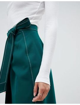 Asos Design Tailored Midi Wrap Skirt With Topstitch by Asos Design