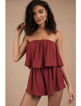 What A Feeling Red Strapless Romper by Tobi