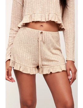 Room Service Beige Ribbed Knit Ruffle Shorts by Lulu's