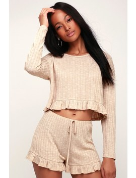 Mellow Vibes Beige Ribbed Knit Ruffle Crop Top by Lulu's
