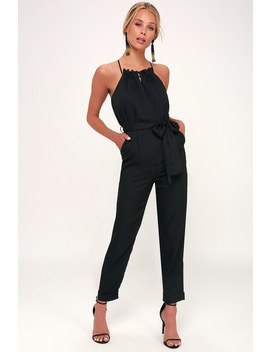 Soiree Black Striped Cross Back Halter Jumpsuit by Lulu's