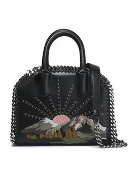Studded Embroidered Faux Leather Shoulder Bag by Stella Mc Cartney