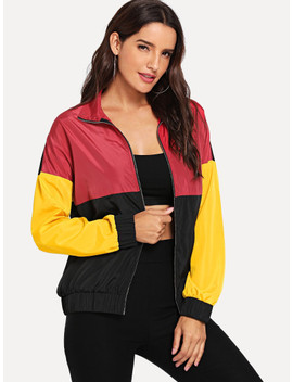 Cut And Sew Zip Up Jacket by Shein