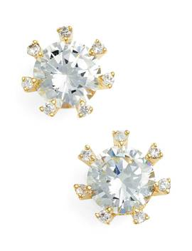 Embellished Prong Cubic Zirconia Stud Earrings by Cz By Kenneth Jay Lane
