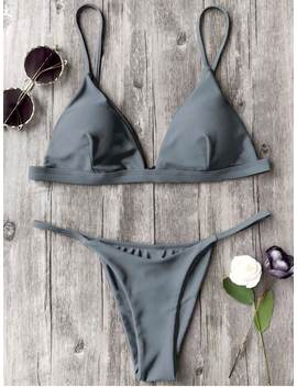 Spaghetti Straps Plunge Thong Bikini Set   Gray M by Zaful