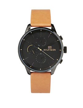 chase-black-dial-brown-leather-strap-chronograph-watch by tommy-hilfiger