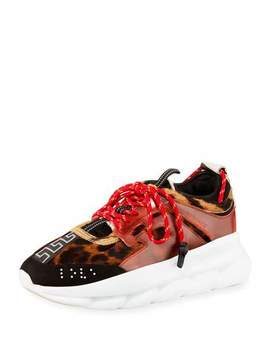 Men's Chain Reaction Greek Key Print Sneakers, Leopard by Versace