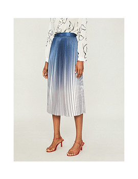 Anna Metallic Ombre Satin Crepe Pleated Skirt by Reiss