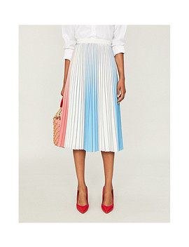 Nina Pleated Crepe Midi Skirt by Reiss