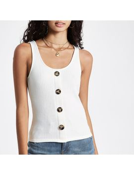 White Button Front Vest by River Island