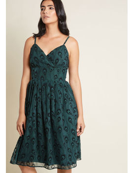 Posh Plumage Flocked Dress by Modcloth