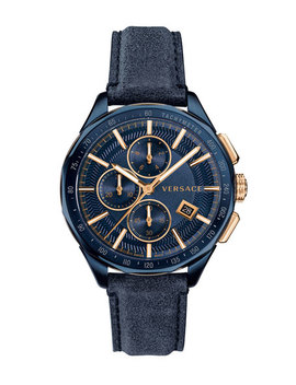 Men's 44mm Glaze Chronograph Watch W/ Leather Strap, Blue by Versace
