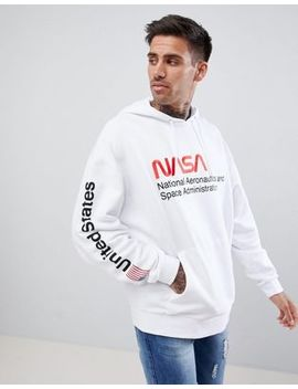Asos Design Oversized Hoodie With Nasa Text Print In White by Asos Design