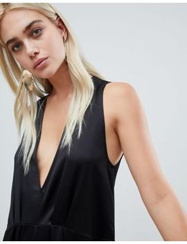 Asos Design Minimal Jumpsuit With Plunge & Wide Leg by Asos Design