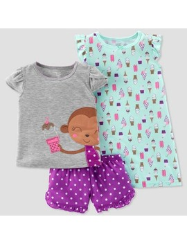 Toddler Girls' 3pc Ice Cream Monkey Pajama Set   Just One You® Made By Carter's Aqua by Shop All Just One You Made By Carter's