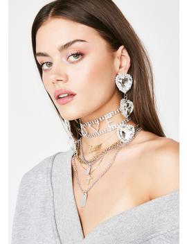 Dazzling Jewel Heart Earrings by Fame Accessories