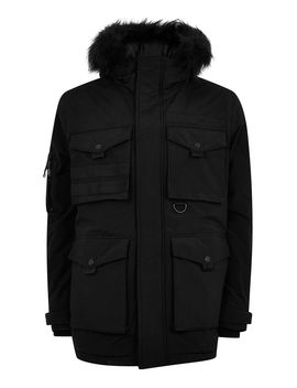 Black Padded Parka Jacket by Topman