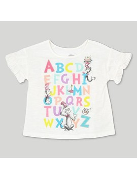 Toddler Girls' Dr. Seuss Cat In The Hat Abc Short Sleeve T Shirt   Ivory by Shop All Dr. Seuss