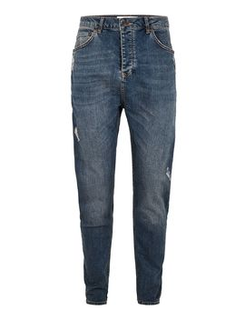 Mid Wash Drop Crotch Jeans by Topman