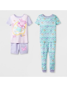 Toddler Girls' Peppa Pig 4pc Cotton Pajama Set   Lilac by Shop All Peppa Pig