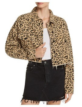 Leopard Print Cropped Denim Jacket   100 Percents Exclusive by Sunset & Spring