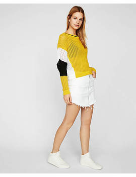 "<A Href=""/Clothing/Women/Color Block Open Stitch Wedge Popover Sweater/Pro/08260245/Cat430028"">Color Block Open Stitch Wedge Popover Sweater</A> by Express"